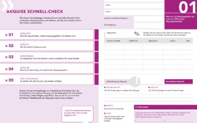 Nie wieder plan- und sinnlos werben! Akquise-Schnell-Check: Kostenloses e-Book